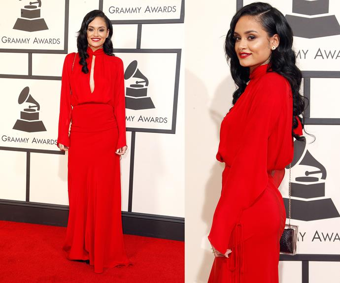 R&B singer-songwriter Kehlani stunned in a dramatic red number.