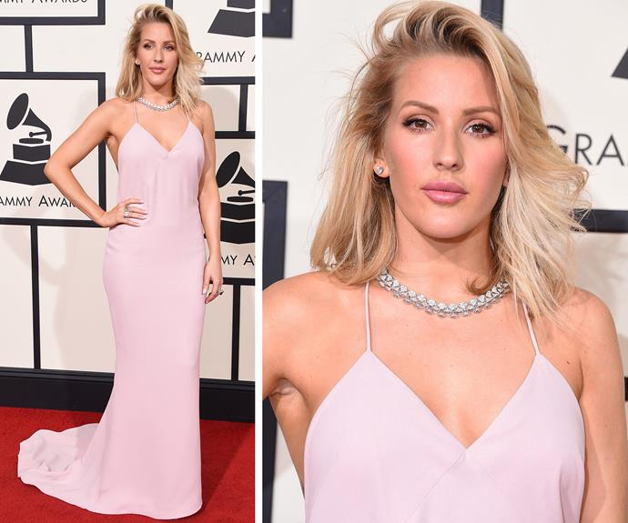 British singer Ellie Goulding, 29, opted for a soft pink silky frock.