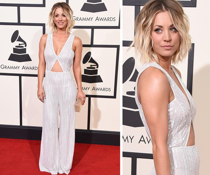The Big Babe Theory! Kaley Cuoco looked red carpet-read in a white shimmering jumpsuit.