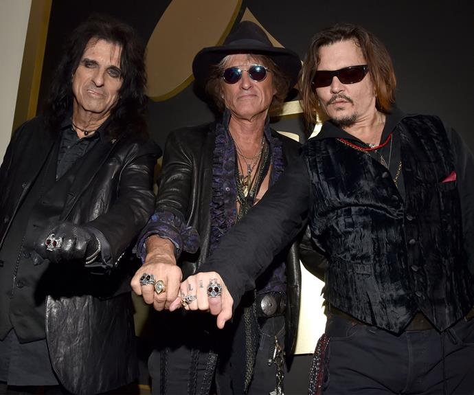 The actor was joined by Alice Cooper and Joe Perry, who make up their side project band Hollywood Vampires.