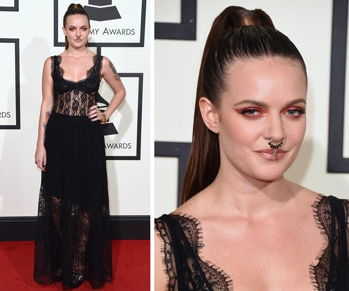 Tove Lo made an impression with her high pony-tail and feminine frock.