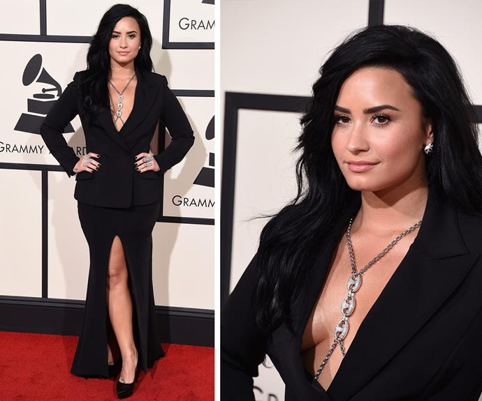 It's Demi Lovato's first ever red carpet but she already like a seasoned pro.