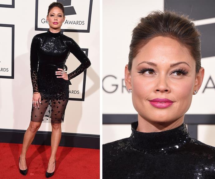 Vanessa Lachey showed off her trim pins in this LBD.