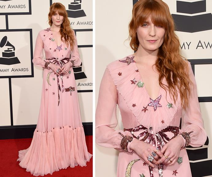 Florence Welch looked a dream in an edgy Gucci gown.