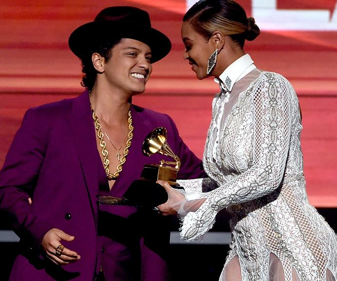 Beyonce presented Bruno Mars with his Grammy for Record of the Year for his smash hit, *Uptown Funk*.
