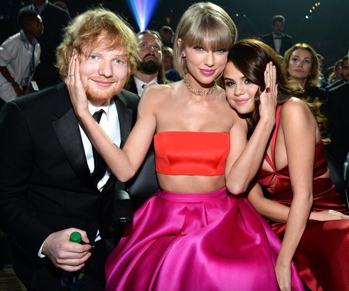 Flanked by her besites Ed Sheeran and Selena Gomez, the singer had her support network on hand ahead of her brave speech.