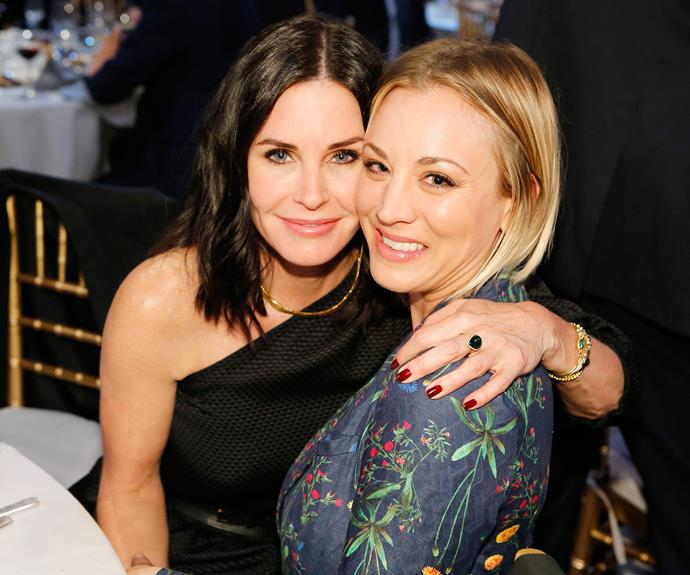Courteney pals around with *The Big Bang Theory* star Kaley Cuoco.