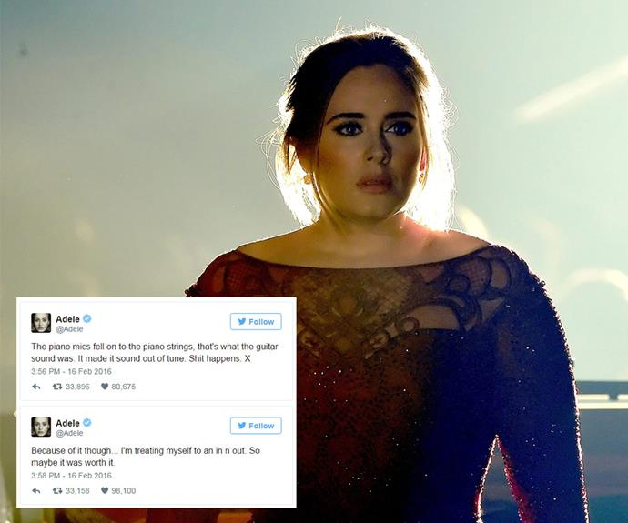 """Adele skipped the after-parties and took a well-deserved trip to In-N-Out Burger instead, after a pitchy performance during the 58th Annual Grammy Awards. """"The piano mics fell on to the piano strings, that's what the guitar sound was. It made it sound out of tune. Sh*t happens."""" she later tweeted of her live performance."""