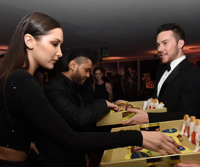 Bella Hadid and The Weeknd made the most of the parties goodies, helping themselves to some all-day breakfast provided by McDonalds.