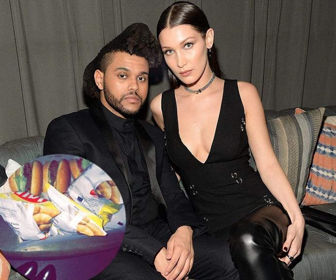 """Supermodel Bella Hadid and Grammy award winner The Weeknd, celebrated the evening with a cheeky midnight run to In-N-Out Burger. The pair arrived to the after-party around midnight and headed straight to the VIP section. An *E! News* insider said that the hot couple """"were only talking to themselves,"""" adding that they """"were in their own world."""""""