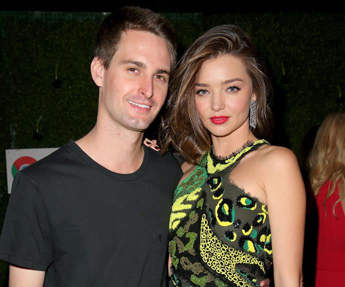 Aussie beauty, Miranda Kerr and Snapchat billionaire, Evan Spiegel were all coupled up at the Warner Music Group's Grammy After Party.