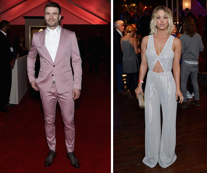 NEW COUPLE ALERT? A video shows the newly-single Kaley Cuoco leaving the Republic Records party with country music star, Sam Hunt. Check it out in the next slide!