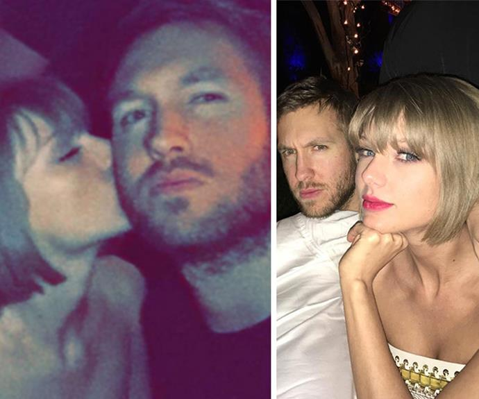 """Musical power couple, Taylor Swift and Calvin Harris arrived together for the Republic Records Grammy celebration. Calvin was overheard by an *E! News* insider talking about how proud of Taylor he was. Taylor and her boyfriend shared """"a kiss here and there"""", the source noted. """"The way they looked at each other said it all."""""""