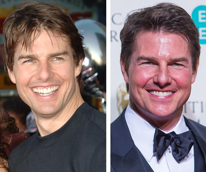 All eyes were on Tom Cruise and his *very* shiny forehead when he attended the BAFTA Awards in London. The 53-year-old, pictured on the left in 2005, hasn't aged a day over the last decade.