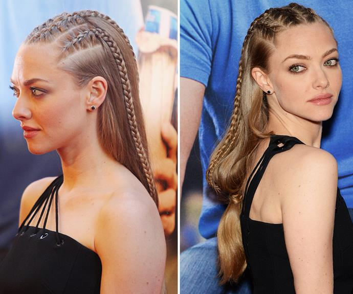 Amanda Seyfried's slick, mini-braid look isn't exactly the easiest hairstyle to do, but it's a rocking 'do none the less!