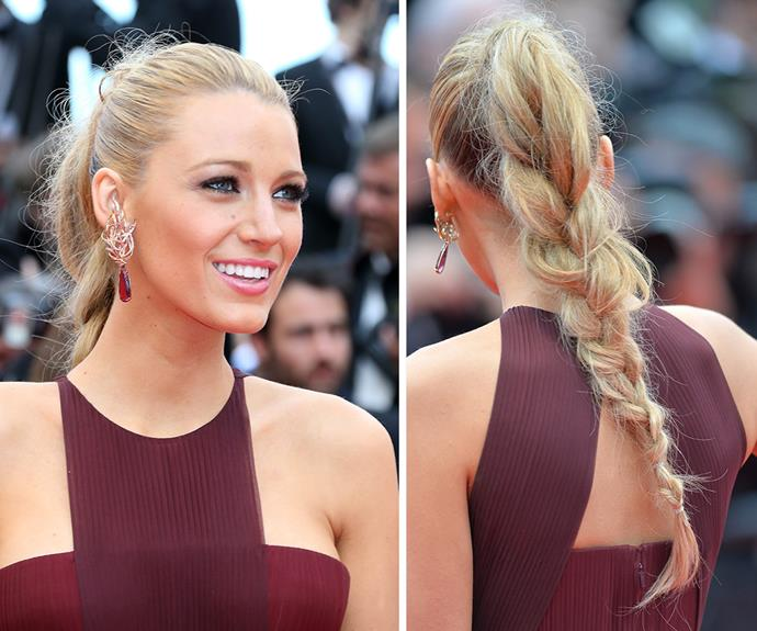 Is there anything Blake Lively can't pull off? For an easy yet sophisticated way to introduce braids into your daily routine, try Blake's loose ponytail plait.