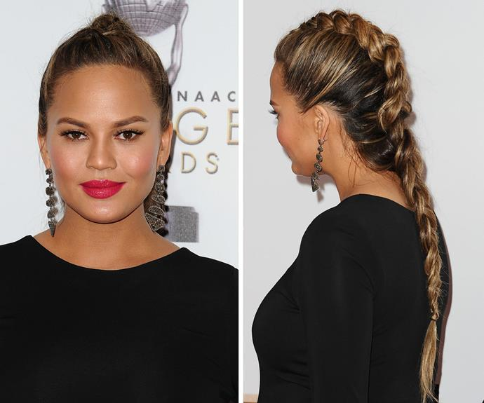 Chrissy Teigen dons a slick dino-braid at the 2016 NAACP Image Awards.