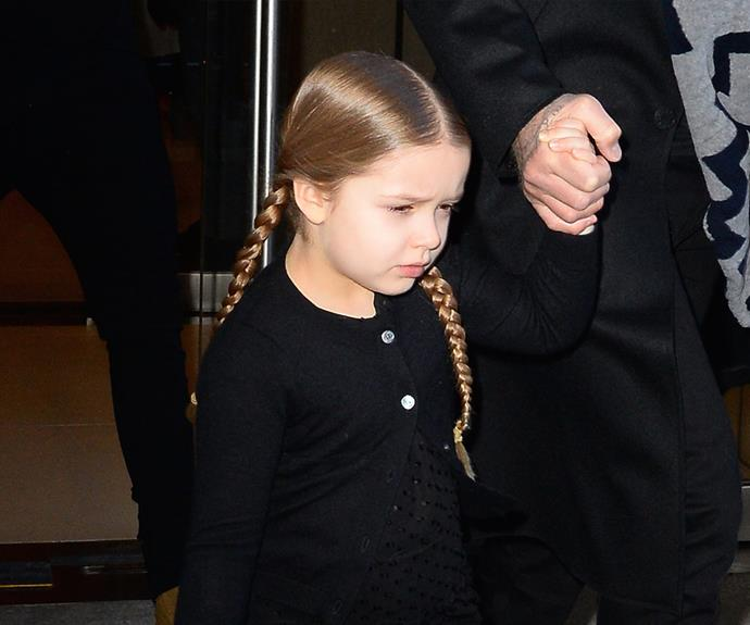 Harper Beckham channels Pippi Longstocking with these double braids.