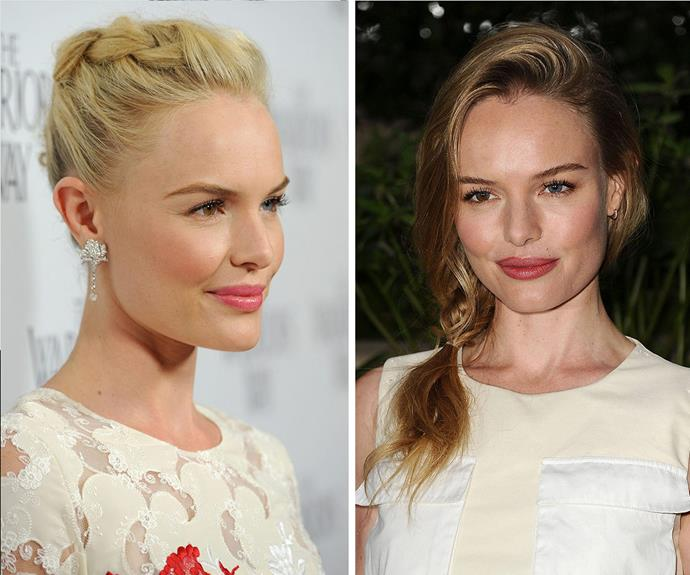 Queen of braids, Kate Bosworth shows us how two different types of braids can completely change your face shape. A reminder to get creative with your styles to see what works for you!