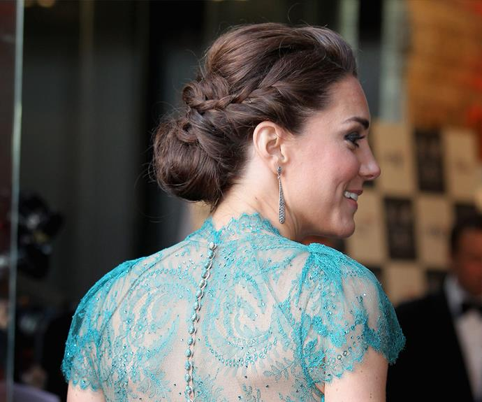 Duchess Catherine sure knows how to embrace a braid. For a chic up-do that will last the night, try her braid-into-bun look.