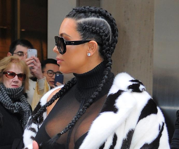 Kim Kardashian isn't afraid to experiment when it comes to her tresses. Her slick triple braids aren't for everyone, but they sure do look cool!