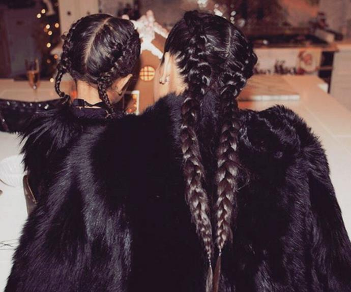 Like mother like daughter! Kim and North rock twin plaits in this adorable Instagram pic.