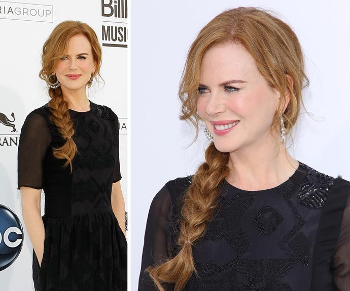 For an elegant hairstyle in a hurry, try Nicole's low side plait.