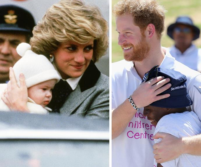 [He has his mother's touch](http://www.womansday.com.au/royals/british-royal-family/how-william-and-harry-have-kept-dianas-legacy-alive-13181): Prince Harry carries on Princess Diana's legacy through his numerous charitable endeavors.