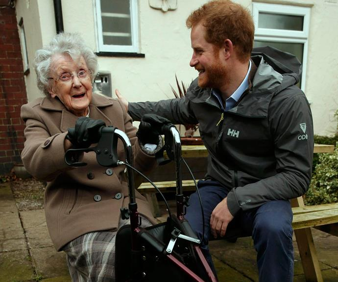 The charming Brit chatted to 97-year old Winifred Hodson during a visit to see the impact of recent floods in St Michael's on Wyre in northwest England on February 5, 2016.