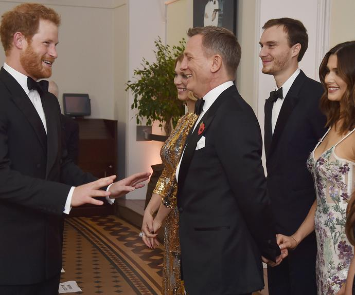 Who's better? Bond vs Captain Wales. We'd back Harry! The Prince shares a chuckle with Daniel Craig.