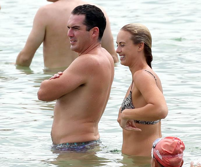 The 29-year-old was joined by her boyfriend Peter Stefanovic for a romantic dip on Valentine's Day.