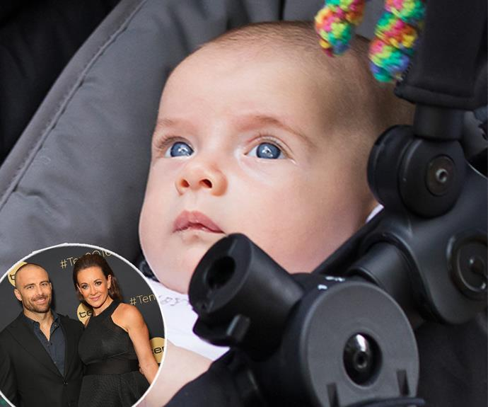 "Hey there, blue eyes! Michelle Bridges and Steve ""The Commando""'s bub Axel is one divine bub."