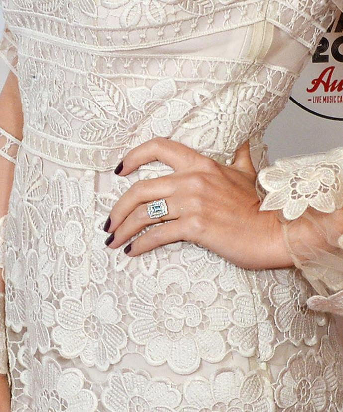 Kylie showed off her dazzling ring on the NME Awards red carpet.