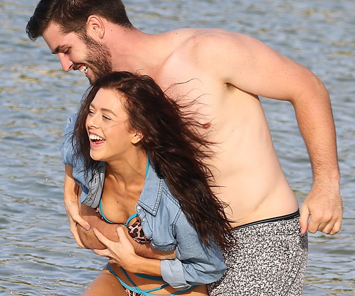 Making a splash! Love was certainly in the air for *First Dates* couple, tradie Chris Simon and salesperson Hayley Gittus, as they hit the beach for an evening swim in Sydney last week.