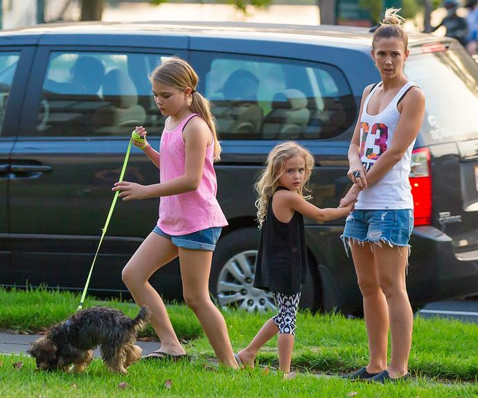 Bec Hewitt enjoys a nice stroll with Bux the dog, Mia and Ava.