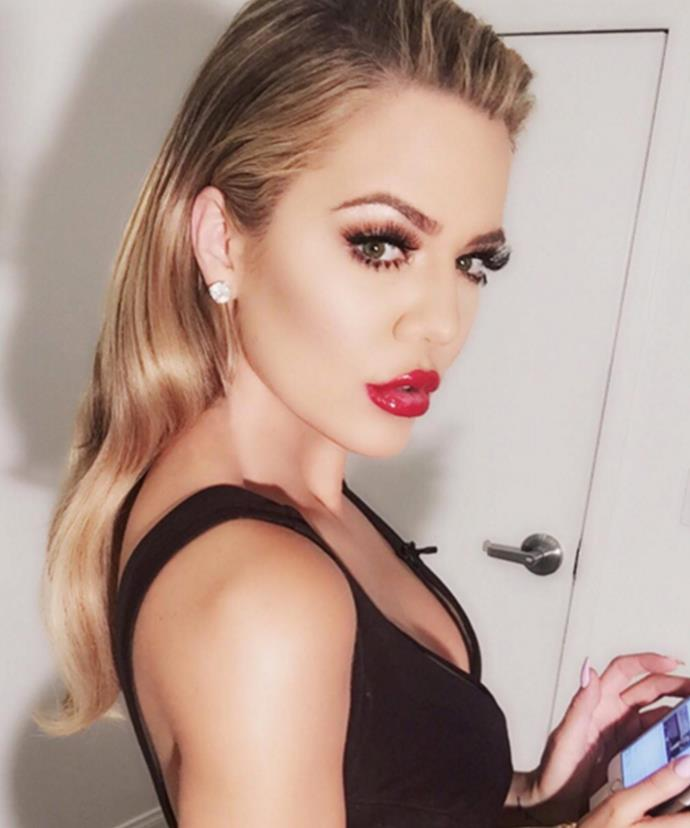 Pout it out! Khloe, 31, poses for an Instagram snap.