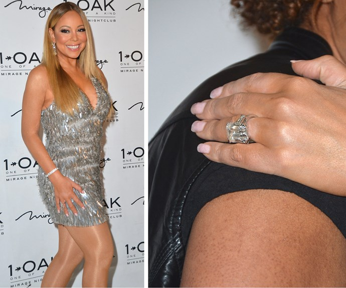 Rocking one HUGE sparkler, Mariah Carey showed off her spectacular new engagement ring at her wrap party in honour of the end of winter residency in Las Vegas on Saturday night.