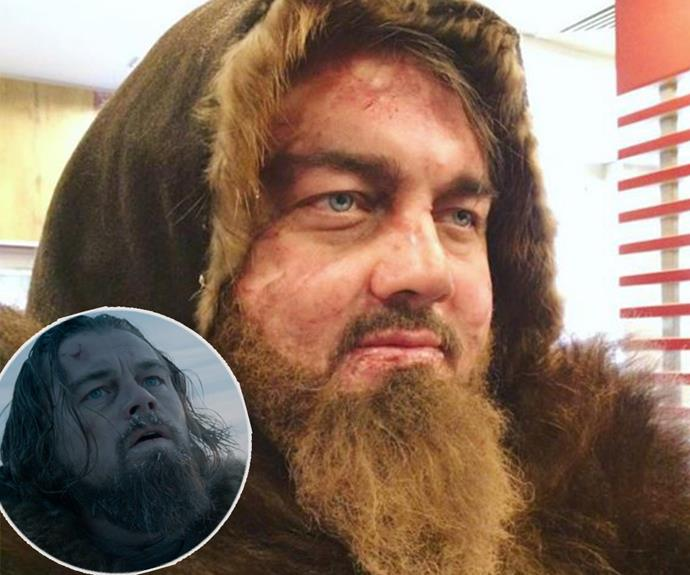 Last month he rose to fame thanks to his eerily similar features to Leonardo DiCaprio (inset) and now Russian resident Roman Burtsev (main) is showing his support for the star and his Oscar campaign with these hilarious spoofs on *The Revenant.*