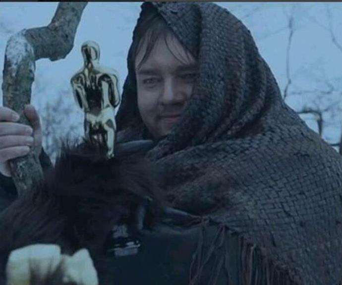 The 33-year-old security guard is obviously crossing his fingers Leo scores the coveted golden statue next week. Roman has shared a slew of snaps of him dressed up as Leo's character Hugh Glass from the gritty film.