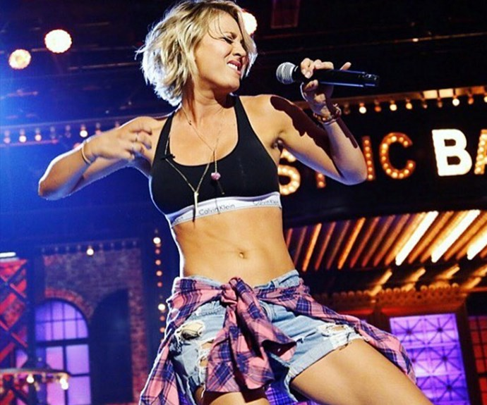 Kaley's toned abs were on display during the star's recent appearance on *Lip Sync Battle*.