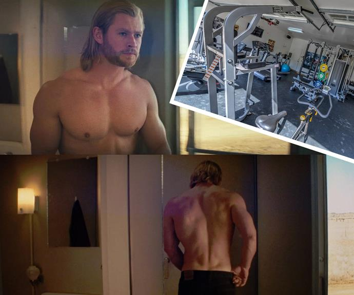 Meanwhile, we can see how the *Thor* actor managed to stay in shape. Now that's what we call a state-of-the-art-unit... and the in-home gym is pretty solid too.