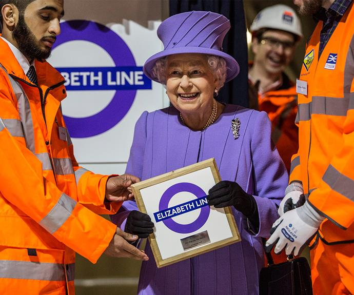 All aboard the Elizabeth Line! Her Majesty beamed with pride as she revealed the latest route in London's extensive rail system has been named after her.