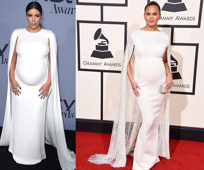 The BFFs twinned again in this similarly-designed white cape gown.