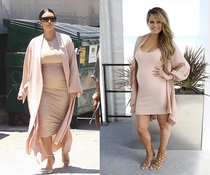 Kim Kardashian and Chrissy Teigen are the best of pals, so perhaps new mother-of-two Kim has been lending her maternity clothes to the *Sports Illustrated* stunner, who is sported this ensemble while pregnant with her baby girl Luna.