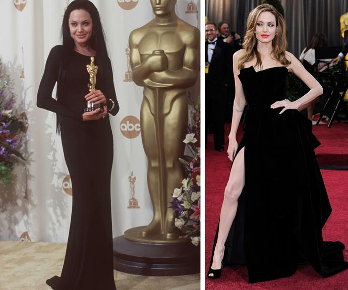 Angelina Jolie may have snagged her first Academy Award back in 1999 for her role in *Girl, Interrupted* (L) but the starlet most famously turned heads in 2013 thanks to her protruding right leg.
