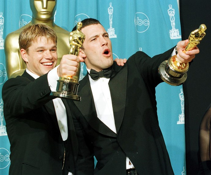 "In 1997, hearts went a-fluttering for two besties from Boston, Ben Affleck and Matt Damon, following their win for Best Original Screenplay for *Good Will Hunting*. Both lads were in their mid-twenties and overwhelmed by the win. Our favourite part of their speech, ""I just said to Matt, losing would suck and winning would be really scary. It's really, really scary... Whoever we forgot we love you! And thank you so much to the city of Boston."""