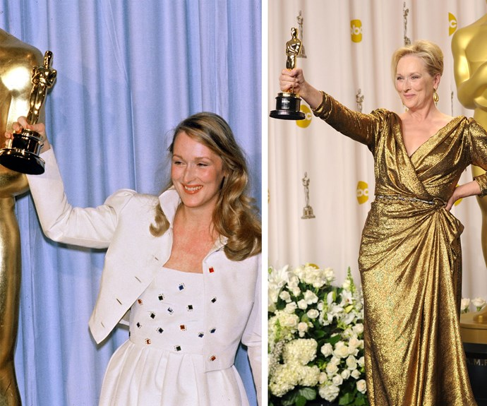 The Queen of winning is none other than Meryl Streep. In 2012 she accepted her third Oscar, 30 years since her last win for *Sophie's Choice* (L).