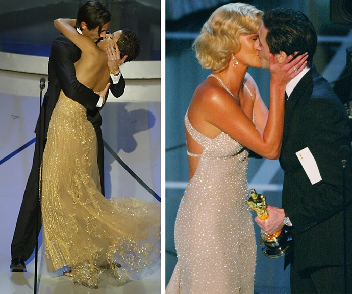 "Pucker up! Adrien Brody planted a surprise kiss on Halle Berry following his 2003 win for Best Actor for *The Pianist*. He concluded the six-second smooch with the following declaration: ""I bet they didn't tell you that was in the gift bag."" One year later, Charlize Theron was locking lips with Adrien Brody following her win for Best Actress for *Monster*."