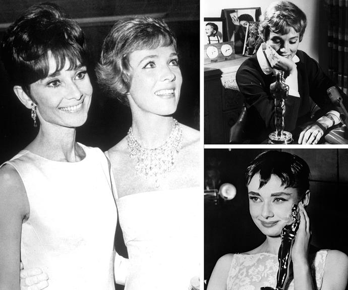 Old school glamour: Taking a step back in time for Audrey Hepburn and Julie Andrews. Both ladies scored gongs for Best Actress. In 1954 Audrey won for her performance in *Roman Holiday*. Over a decade later Julie won the award in 1965 thanks to a spoon full of sugar... her role in *Mary Poppins*.