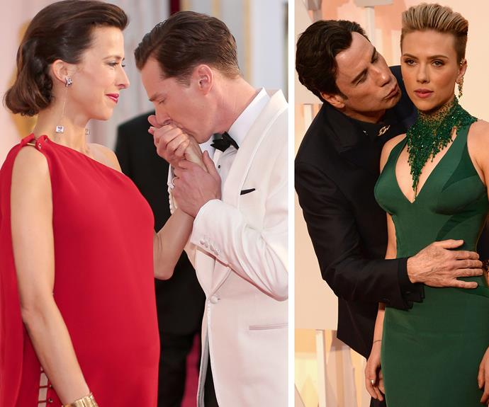 Who doesn't love a kiss on the red carpet... Scarlett Johansson. We can't all have the tender moments shared between Benedict Cumberbatch and wife Sophie... John Travolta's strange lingering behind ScarJo in 2015 will go down as one of the more creepy moments.